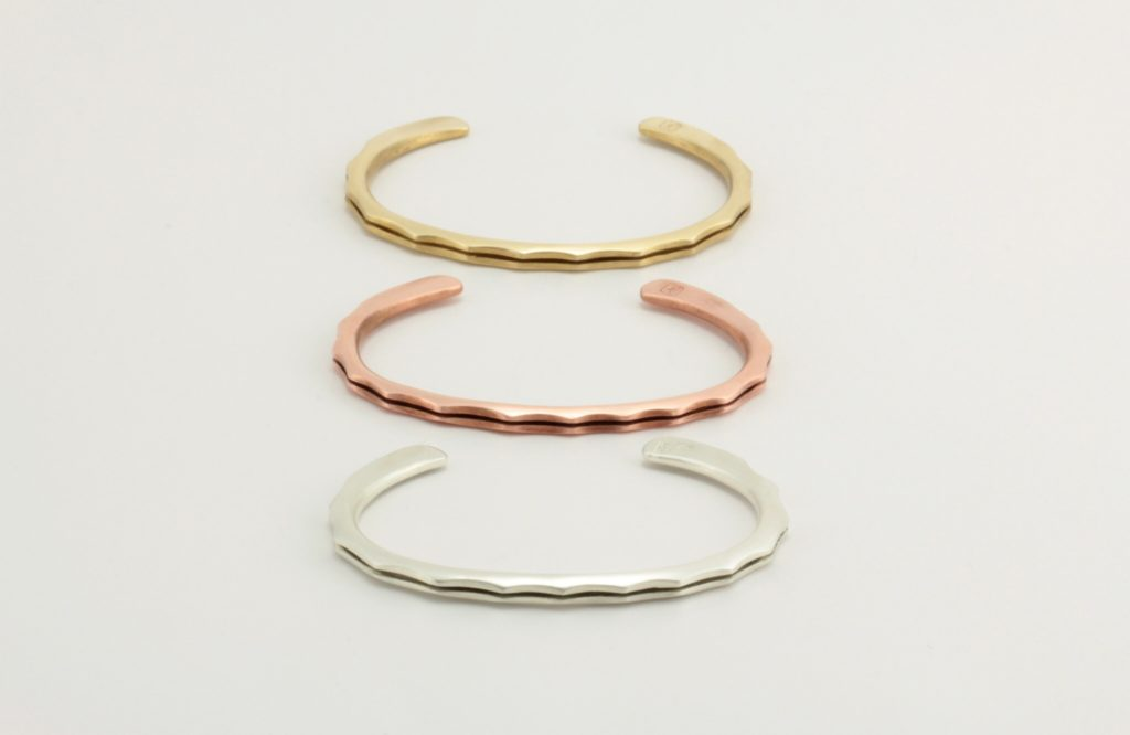 "Stacked ""joe,"" bracelet in brass, copper and sterling silver."