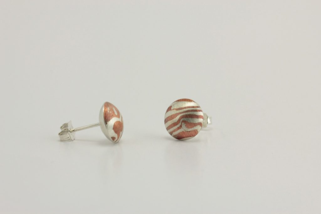 Mokume gane pill stud earrings