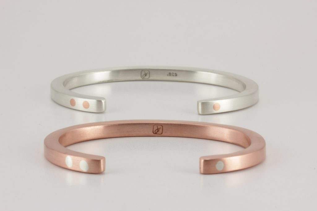 Stacked sterling silver and copper antithesis bracelet