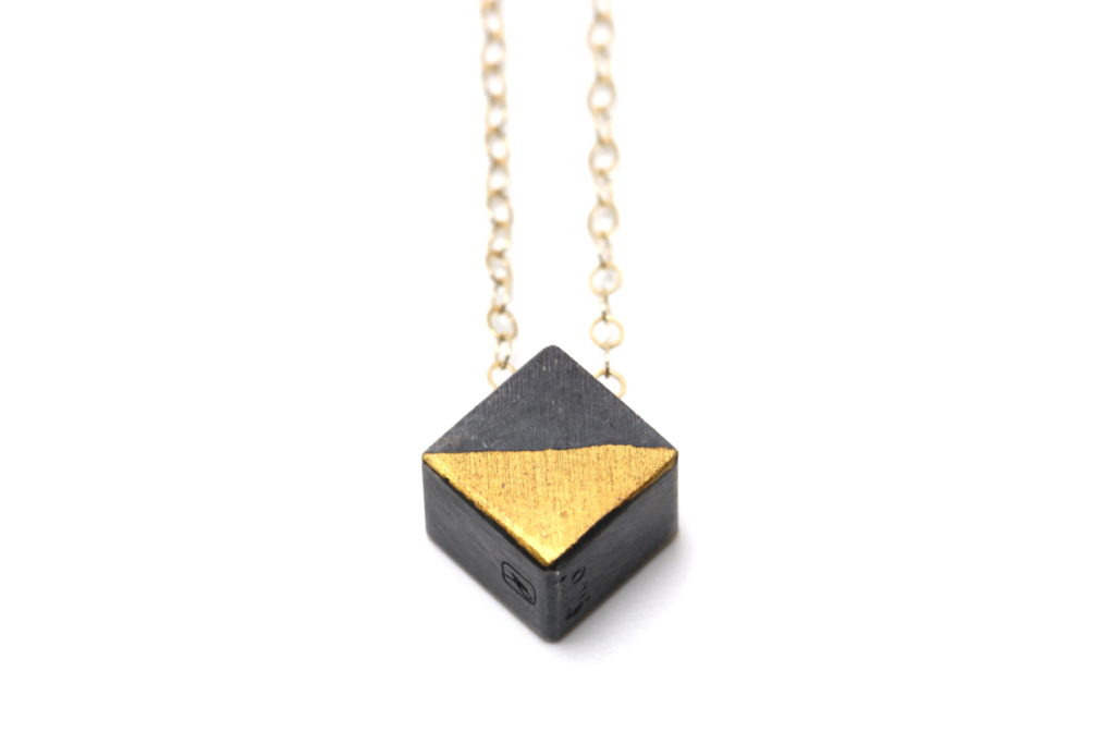 blackened cube pendant