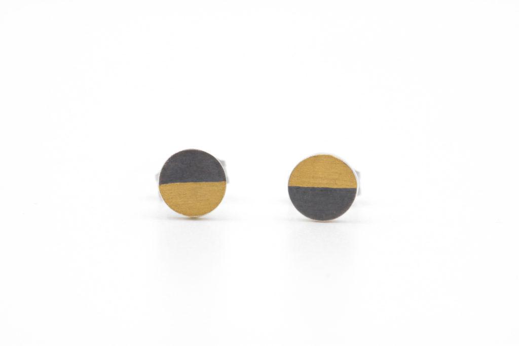 Oxidized semicircle studs