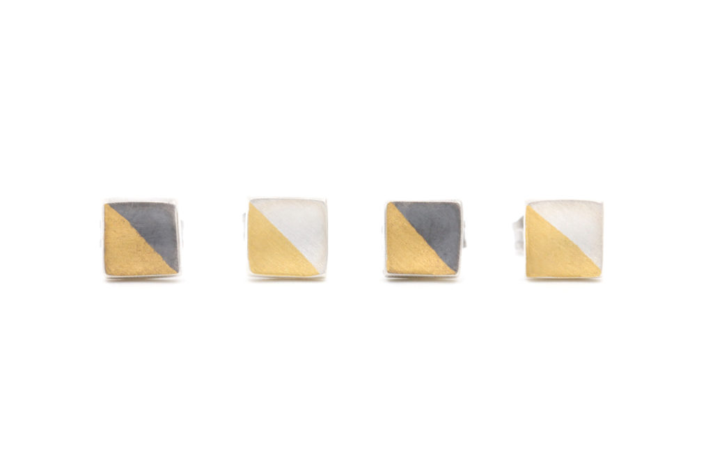 both versions of the two tone square stud
