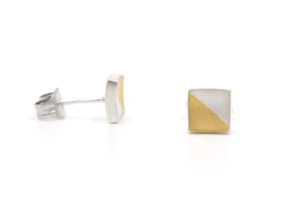 brushed square two tone studs.